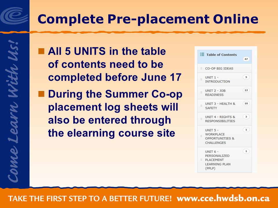Complete Pre-placement Online All 5 UNITS in the table of contents need to be completed before June 17 During the Summer Co-op placement log sheets will also be entered through the elearning course site