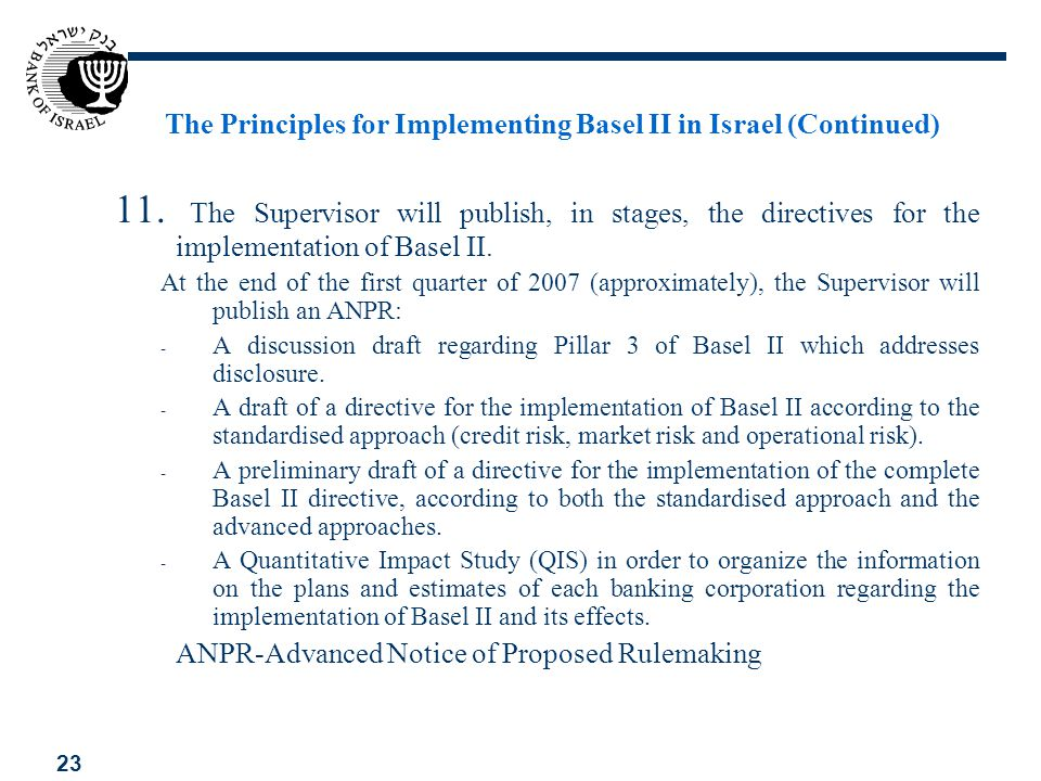 23 The Principles for Implementing Basel II in Israel (Continued) 11. The Supervisor will publish, in stages, the directives for the implementation of