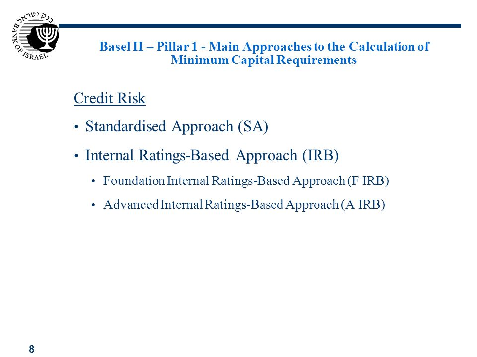 9 Basel II – Pillar 1 – Main Approaches to the Calculation of Minimum Capital Requirements Operational Risk Basic Indicator Approach (BIA) Standardised Approach (SAOR) Advanced Measurement Approaches (AMA)