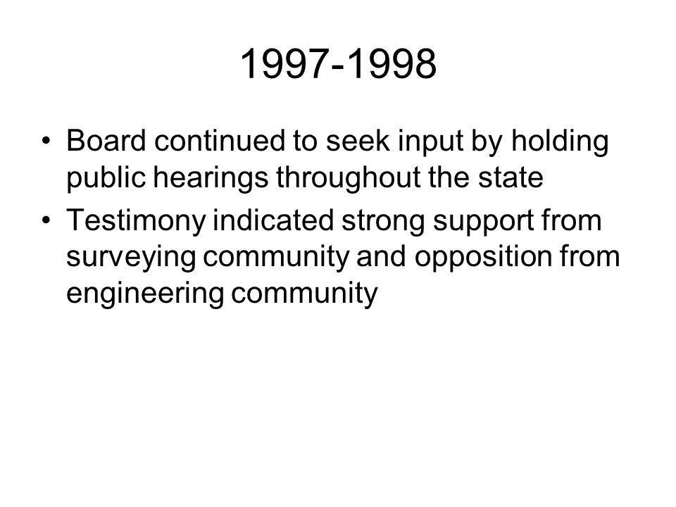 Board continued to seek input by holding public hearings throughout the state Testimony indicated strong support from surveying community and opposition from engineering community