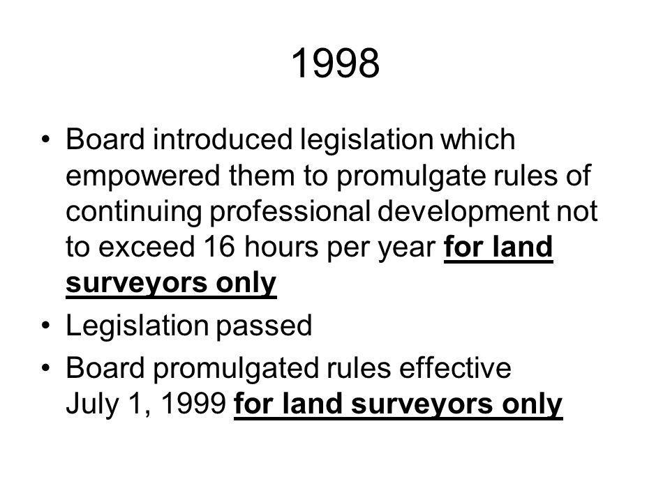1998 Board introduced legislation which empowered them to promulgate rules of continuing professional development not to exceed 16 hours per year for land surveyors only Legislation passed Board promulgated rules effective July 1, 1999 for land surveyors only