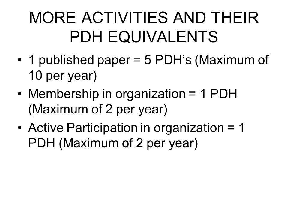 MORE ACTIVITIES AND THEIR PDH EQUIVALENTS 1 published paper = 5 PDHs (Maximum of 10 per year) Membership in organization = 1 PDH (Maximum of 2 per year) Active Participation in organization = 1 PDH (Maximum of 2 per year)
