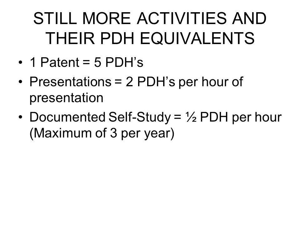 STILL MORE ACTIVITIES AND THEIR PDH EQUIVALENTS 1 Patent = 5 PDHs Presentations = 2 PDHs per hour of presentation Documented Self-Study = ½ PDH per hour (Maximum of 3 per year)