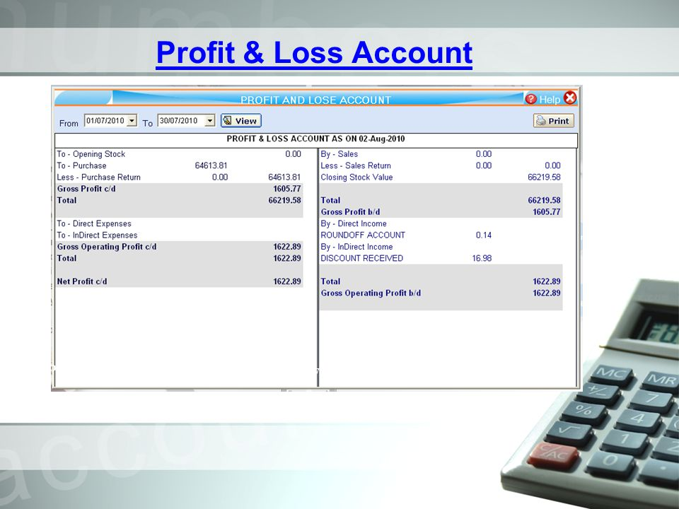 Profit & Loss Account Profit & Loss A/C for the period is shown in P & L A/C.