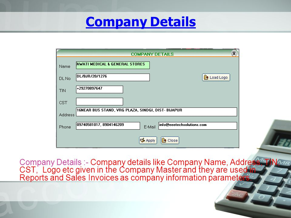 Customer List Clients /Customers can be added / modified using this screen.