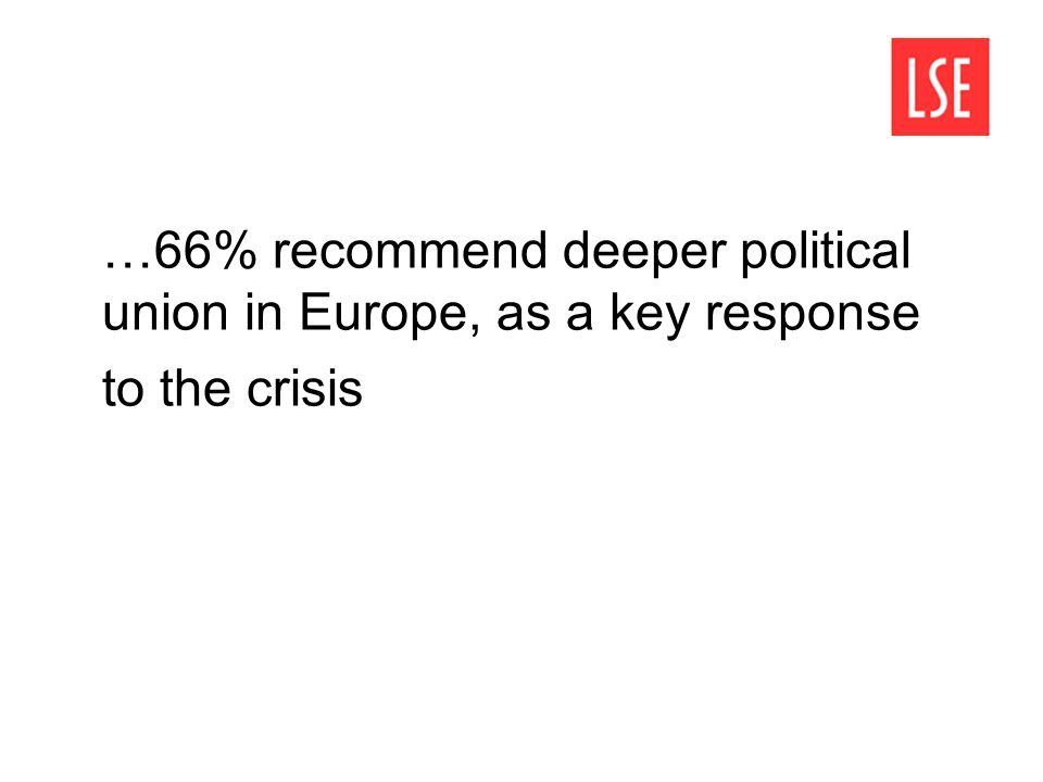 …66% recommend deeper political union in Europe, as a key response to the crisis