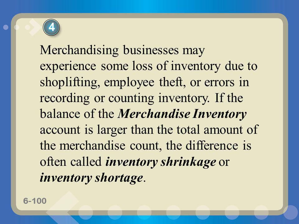 6-100 Merchandising businesses may experience some loss of inventory due to shoplifting, employee theft, or errors in recording or counting inventory.