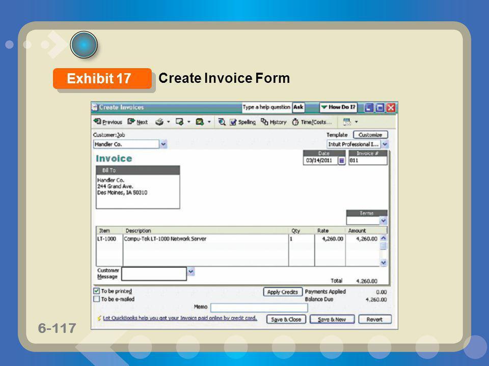 6-117 Create Invoice Form Exhibit 17