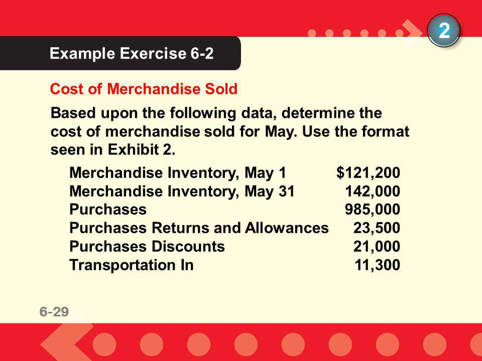 6-29 Example Exercise 6-2 2 Cost of Merchandise Sold Based upon the following data, determine the cost of merchandise sold for May. Use the format see