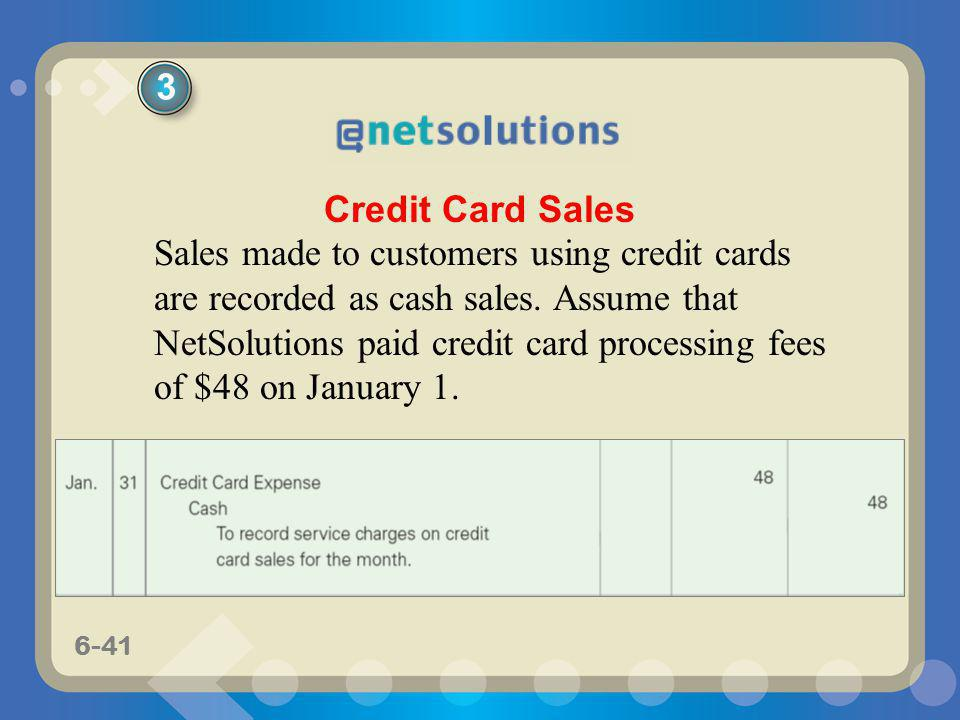 6-41 Sales made to customers using credit cards are recorded as cash sales. Assume that NetSolutions paid credit card processing fees of $48 on Januar