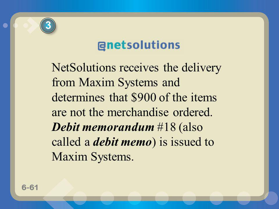 6-61 NetSolutions receives the delivery from Maxim Systems and determines that $900 of the items are not the merchandise ordered. Debit memorandum #18