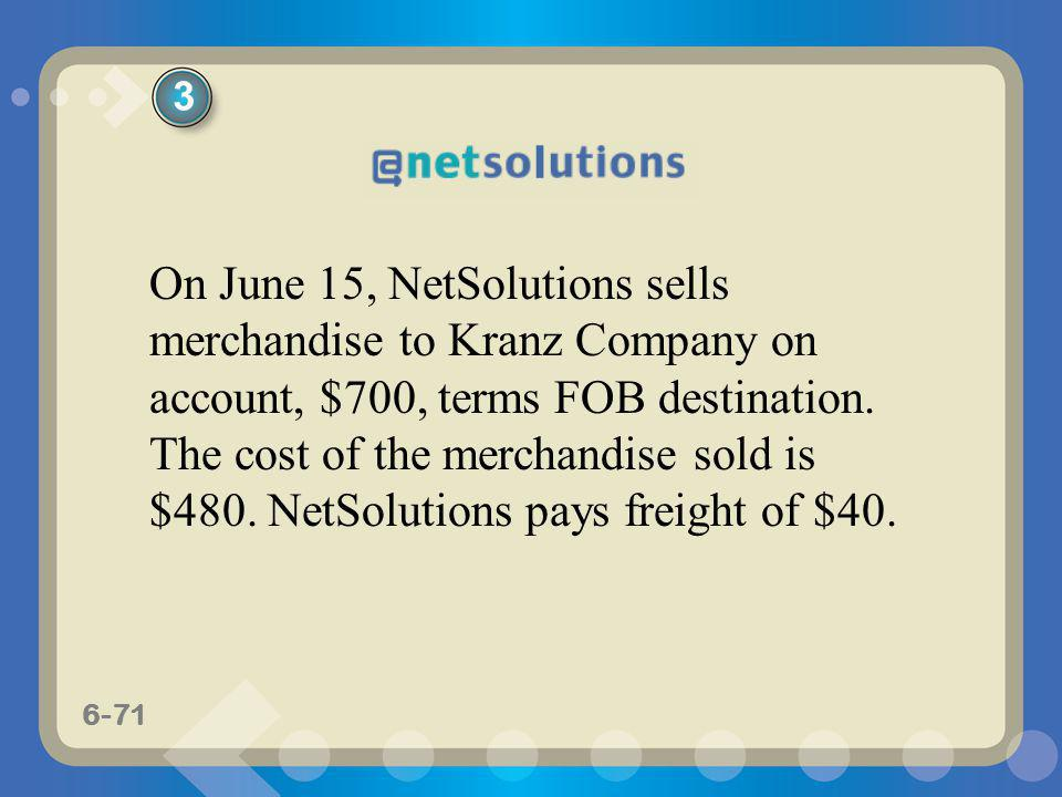 6-71 On June 15, NetSolutions sells merchandise to Kranz Company on account, $700, terms FOB destination. The cost of the merchandise sold is $480. Ne