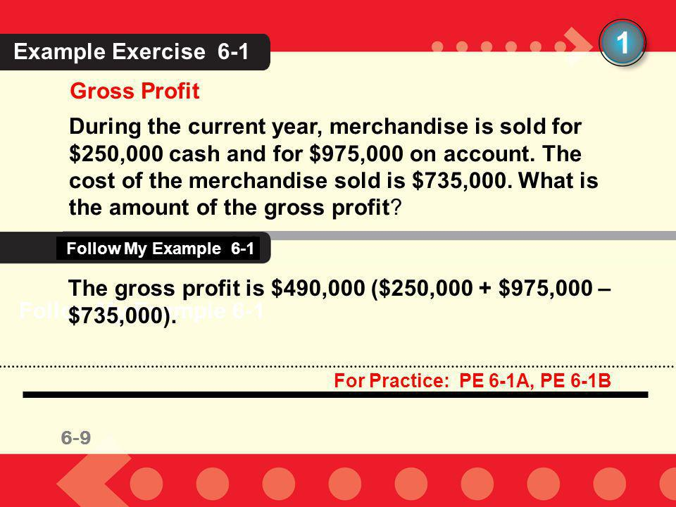 6-9 1 Gross Profit During the current year, merchandise is sold for $250,000 cash and for $975,000 on account. The cost of the merchandise sold is $73