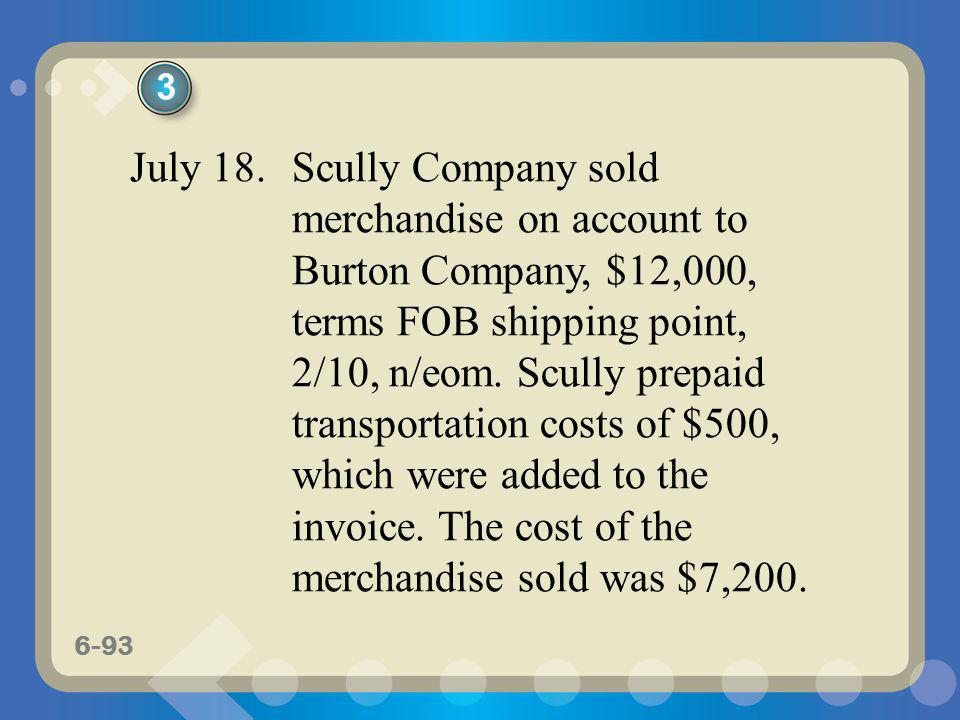6-93 July 18. Scully Company sold merchandise on account to Burton Company, $12,000, terms FOB shipping point, 2/10, n/eom. Scully prepaid transportat