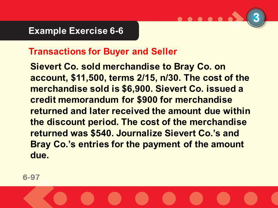 6-97 Example Exercise 6-6 3 Transactions for Buyer and Seller Sievert Co. sold merchandise to Bray Co. on account, $11,500, terms 2/15, n/30. The cost