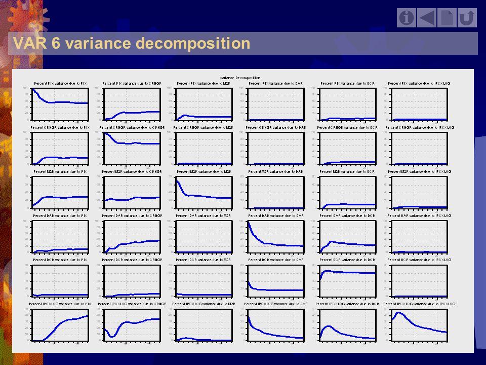 VAR 6 variance decomposition