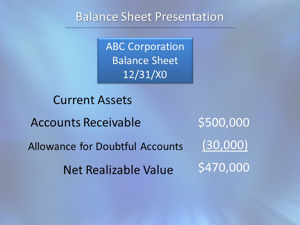 Balance Sheet Presentation ABC Corporation Balance Sheet 12/31/X0 ABC Corporation Balance Sheet 12/31/X0 Current Assets Accounts Receivable Net Realizable Value Allowance for Doubtful Accounts $500,000 (30,000) $470,000