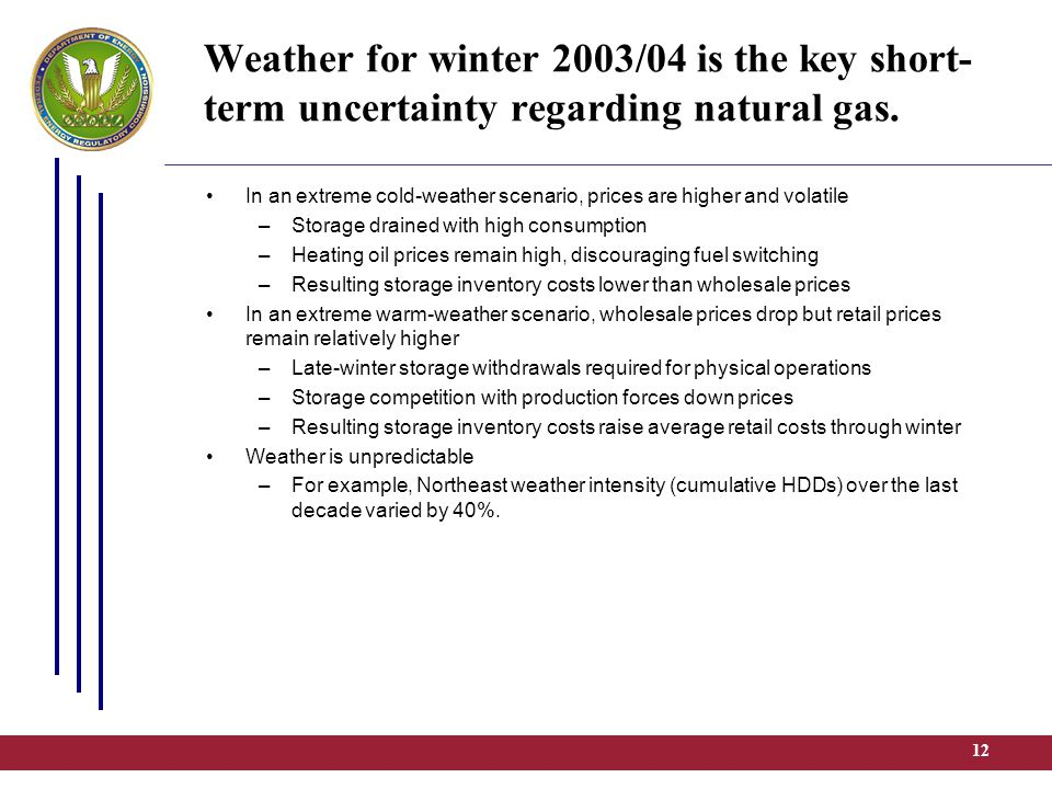 12 Weather for winter 2003/04 is the key short- term uncertainty regarding natural gas.