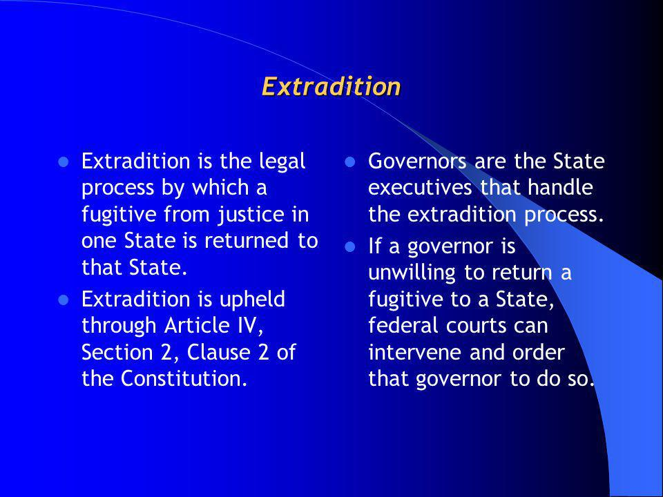 Extradition Extradition is the legal process by which a fugitive from justice in one State is returned to that State. Extradition is upheld through Ar