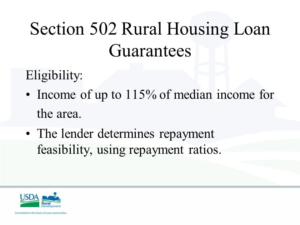 Section 502 Rural Housing Loan Guarantees Role of USDA: To Guarantee a Lender that we will repay that lender 90% of the total loan value if the Loan g