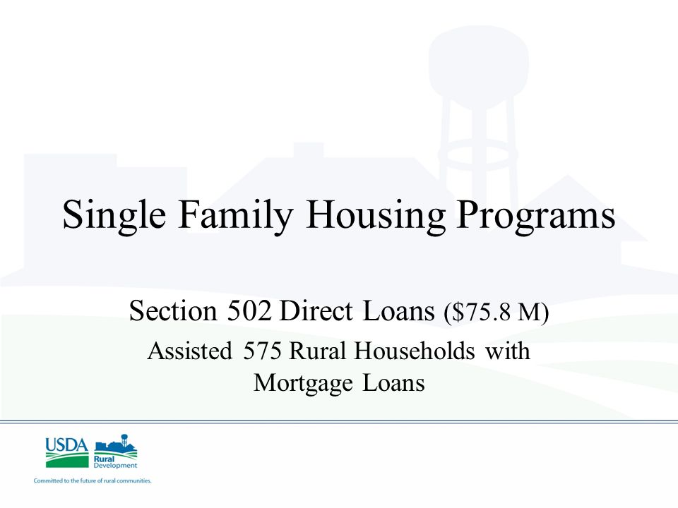 Single Family Housing Programs Section 502 Guaranteed Loans OVER $805.0 M Section 502 Direct Loans $75.8 M Section 504 Repair Loans $1.54 M Section 50