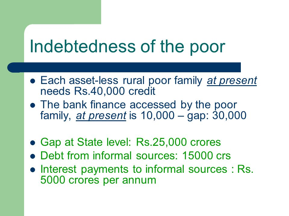 Indebtedness of the poor Each asset-less rural poor family at present needs Rs.40,000 credit The bank finance accessed by the poor family, at present is 10,000 – gap: 30,000 Gap at State level: Rs.25,000 crores Debt from informal sources: 15000 crs Interest payments to informal sources : Rs.