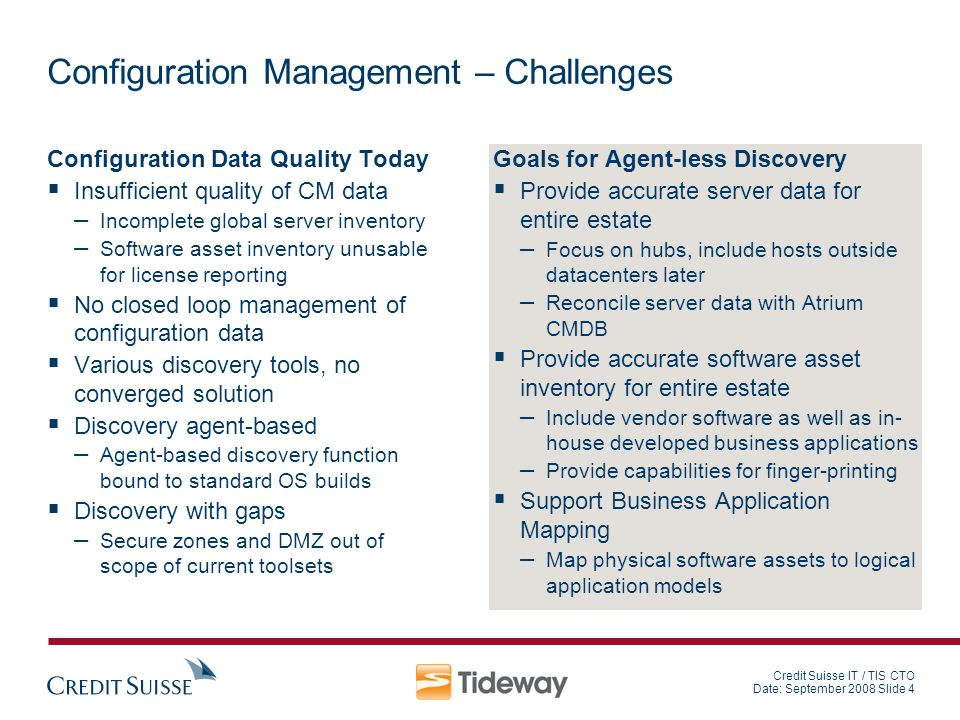 Credit Suisse IT / TIS CTO Date: September 2008 Slide 4 Configuration Management – Challenges Configuration Data Quality Today Insufficient quality of