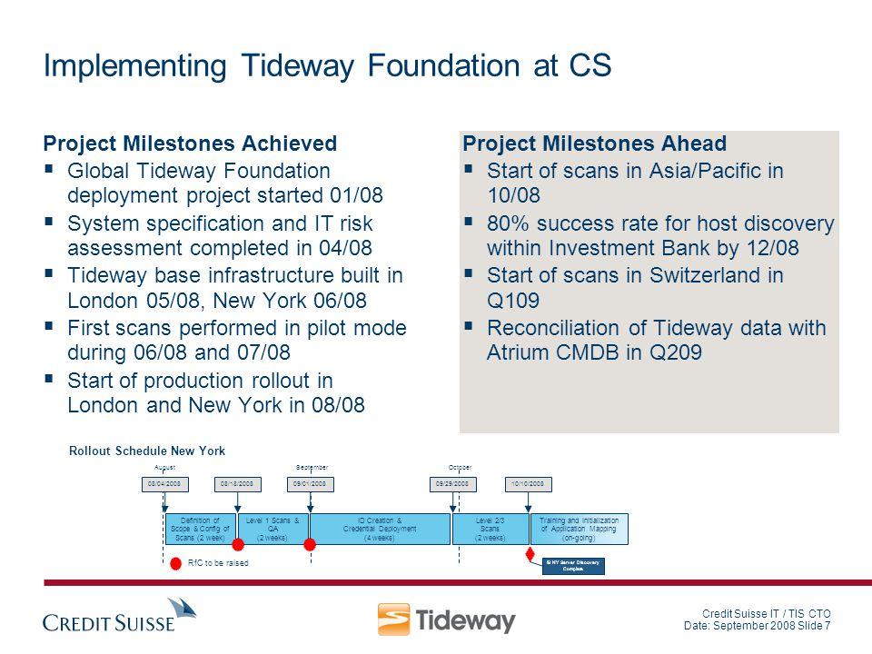 Credit Suisse IT / TIS CTO Date: September 2008 Slide 7 Implementing Tideway Foundation at CS Project Milestones Achieved Global Tideway Foundation de