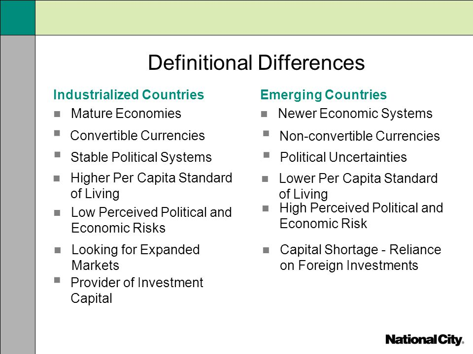 Definitional Differences Industrialized Countries Mature Economies Emerging Countries Newer Economic Systems Convertible Currencies Non-convertible Cu