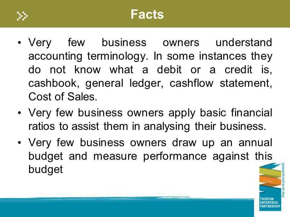 Facts Very few business owners understand accounting terminology. In some instances they do not know what a debit or a credit is, cashbook, general le