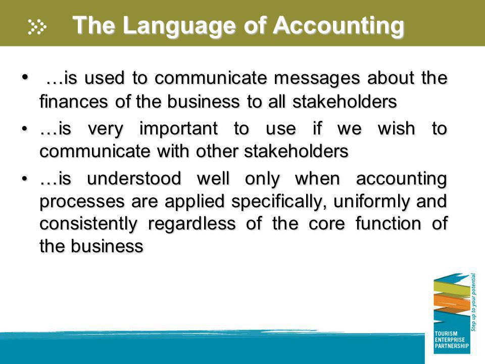The Language of Accounting …is used to communicate messages about the finances of the business to all stakeholders …is used to communicate messages ab