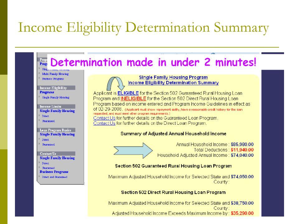 Income Eligibility Determination Summary