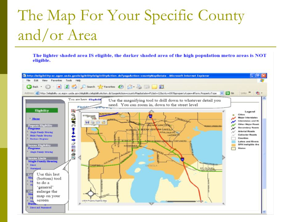 The Map For Your Specific County and/or Area
