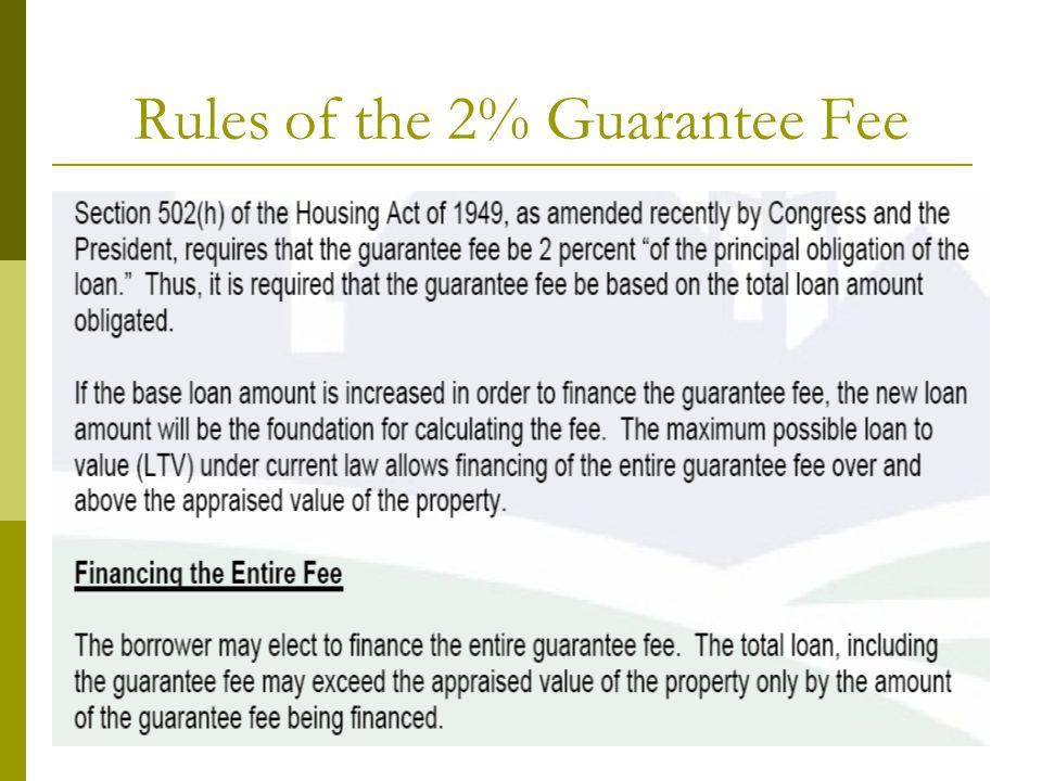 Rules of the 2% Guarantee Fee