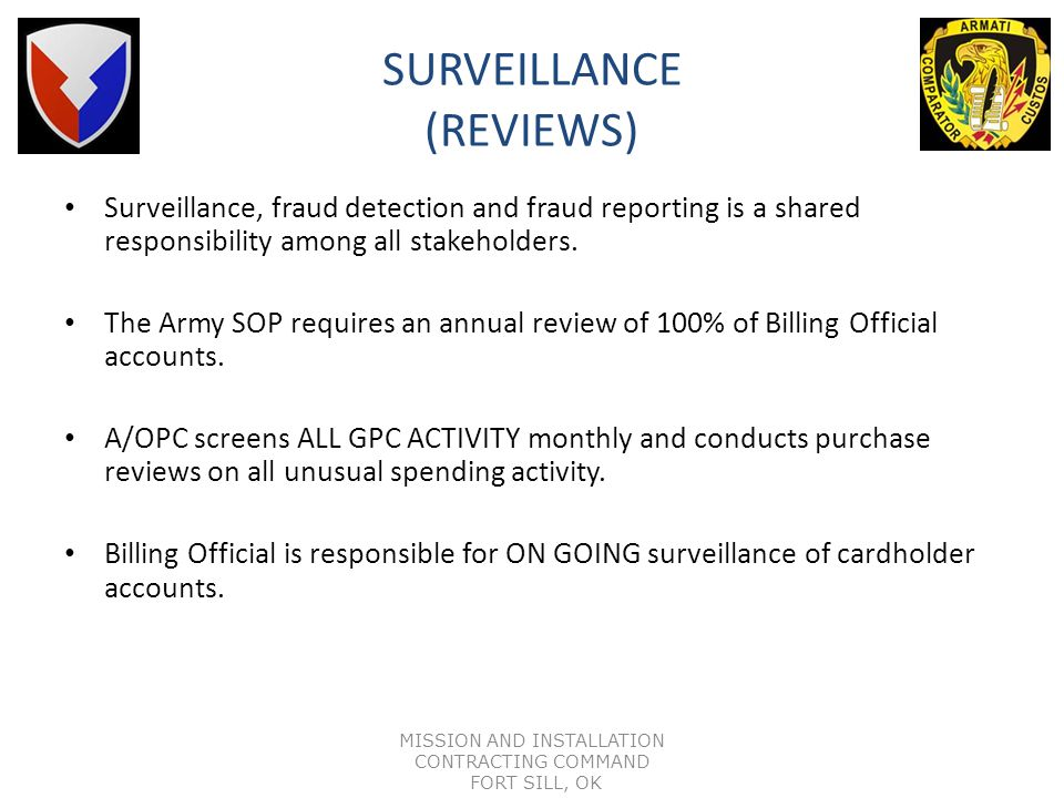 ARMY PURCHASE CARD ACCOUNT SUSPENSION POLICY IAW DoD Policy, US Bank will suspend Billing Official Accounts that become 61 days delinquent. Billing Of
