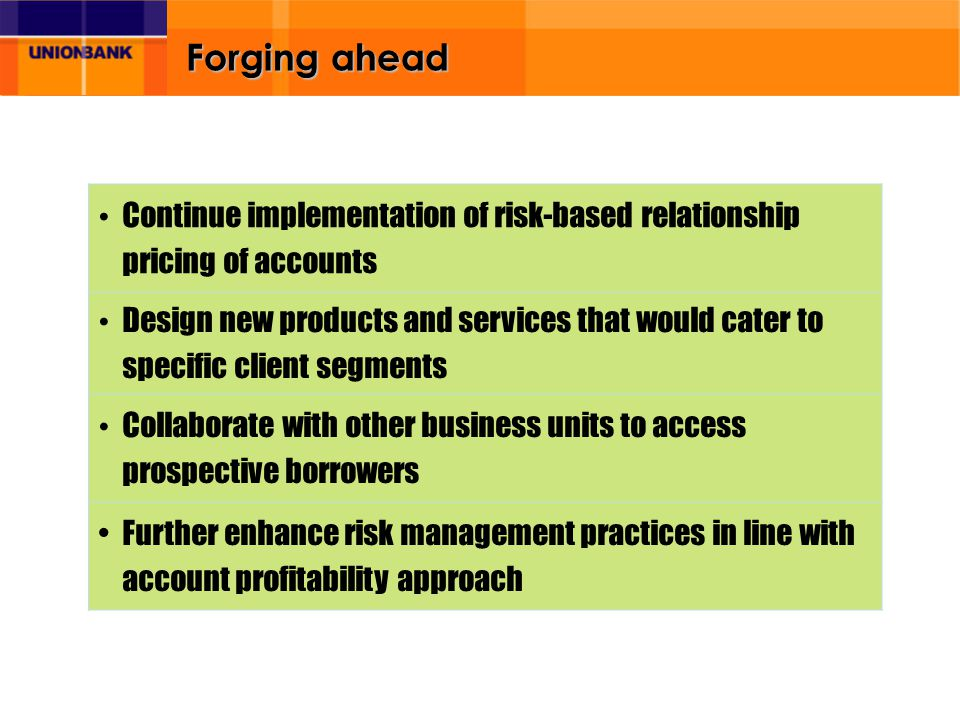 Forging ahead Continue implementation of risk-based relationship pricing of accounts Design new products and services that would cater to specific client segments Collaborate with other business units to access prospective borrowers Further enhance risk management practices in line with account profitability approach
