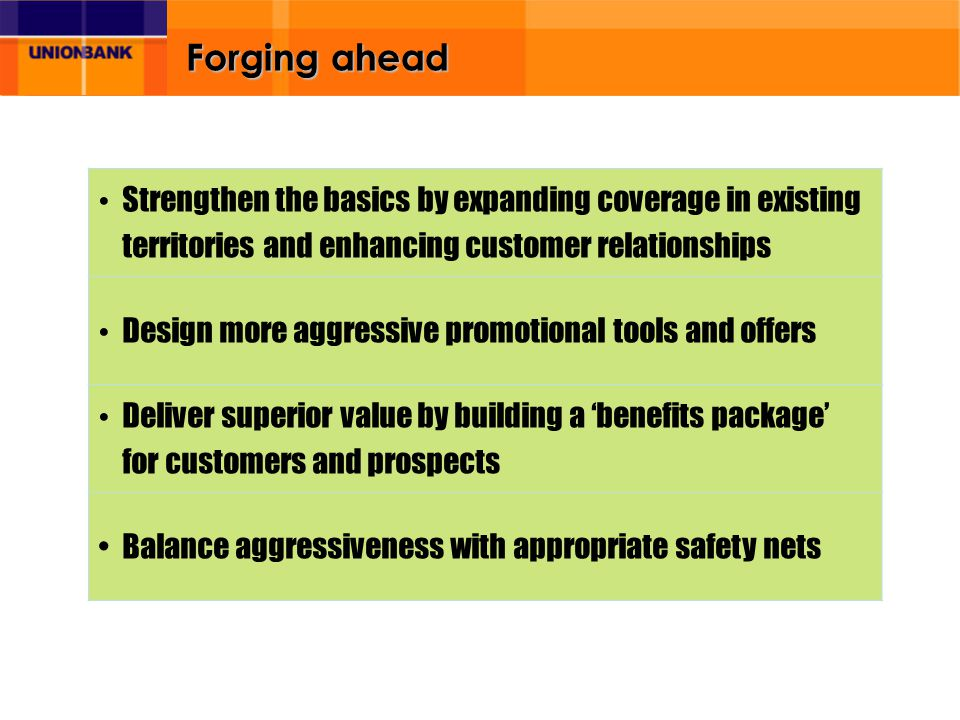 Forging ahead Strengthen the basics by expanding coverage in existing territories and enhancing customer relationships Design more aggressive promotio