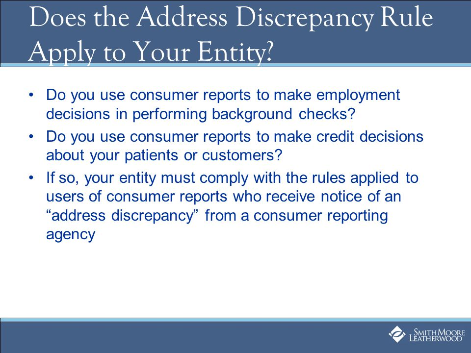 Does the Address Discrepancy Rule Apply to Your Entity.