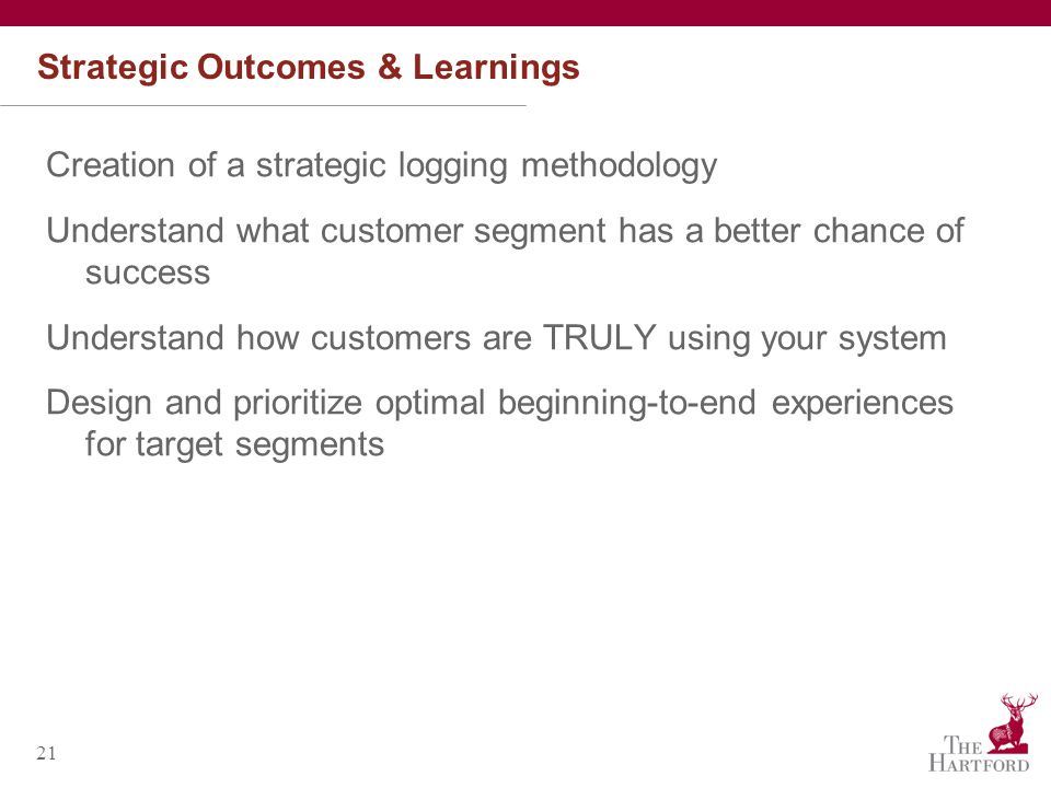 21 Strategic Outcomes & Learnings Creation of a strategic logging methodology Understand what customer segment has a better chance of success Understand how customers are TRULY using your system Design and prioritize optimal beginning-to-end experiences for target segments