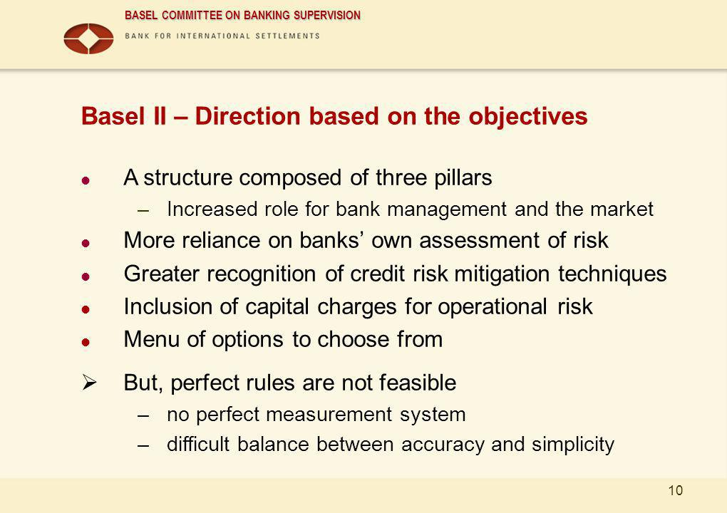 BASEL COMMITTEE ON BANKING SUPERVISION 10 Basel II – Direction based on the objectives A structure composed of three pillars –Increased role for bank