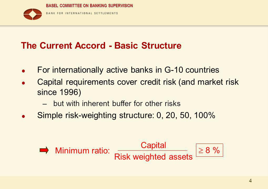 BASEL COMMITTEE ON BANKING SUPERVISION 4 The Current Accord - Basic Structure For internationally active banks in G-10 countries Capital requirements