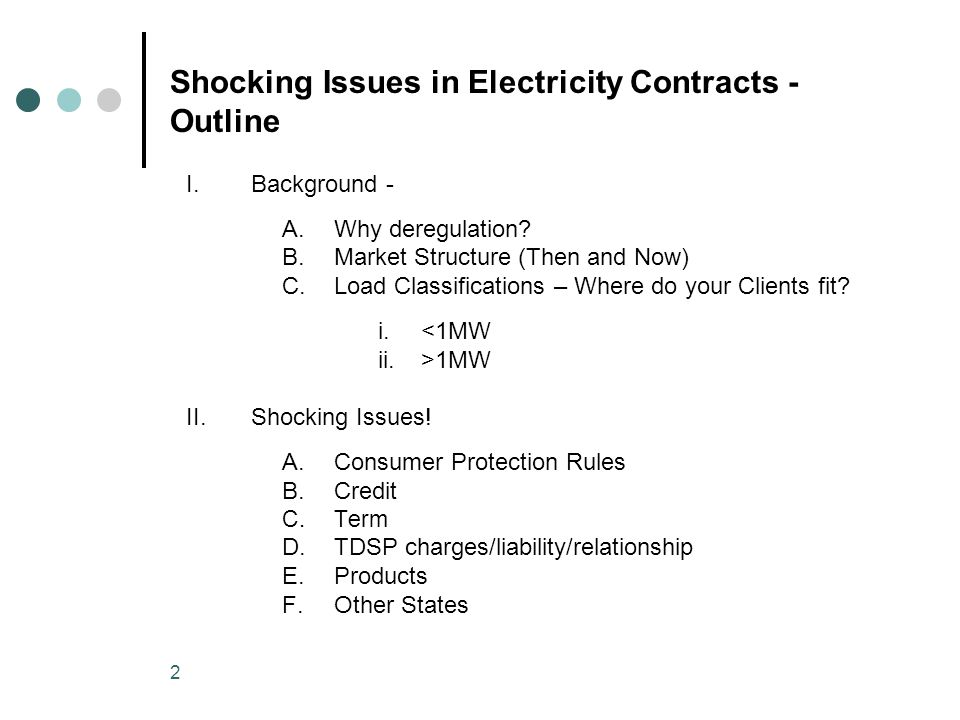 2 Shocking Issues in Electricity Contracts - Outline I.Background - A.Why deregulation.