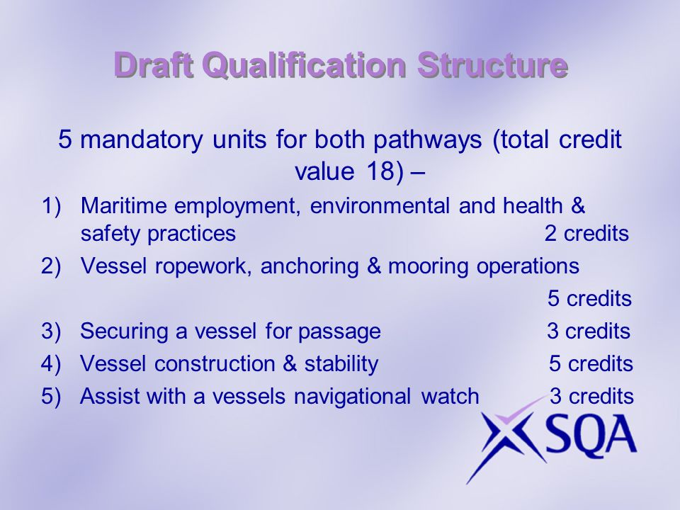 Draft Qualification Structure 5 mandatory units for both pathways (total credit value 18) – 1)Maritime employment, environmental and health & safety p