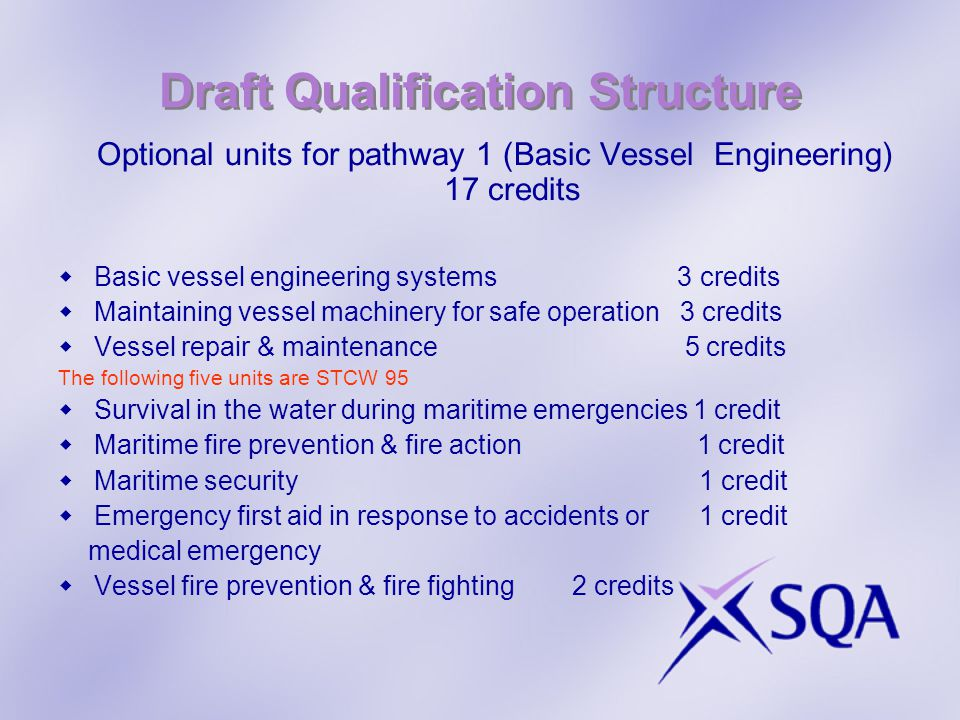 Draft Qualification Structure Optional units for pathway 1 (Basic Vessel Engineering) 17 credits Basic vessel engineering systems 3 credits Maintaining vessel machinery for safe operation 3 credits Vessel repair & maintenance 5 credits The following five units are STCW 95 Survival in the water during maritime emergencies 1 credit Maritime fire prevention & fire action 1 credit Maritime security 1 credit Emergency first aid in response to accidents or 1 credit medical emergency Vessel fire prevention & fire fighting 2 credits