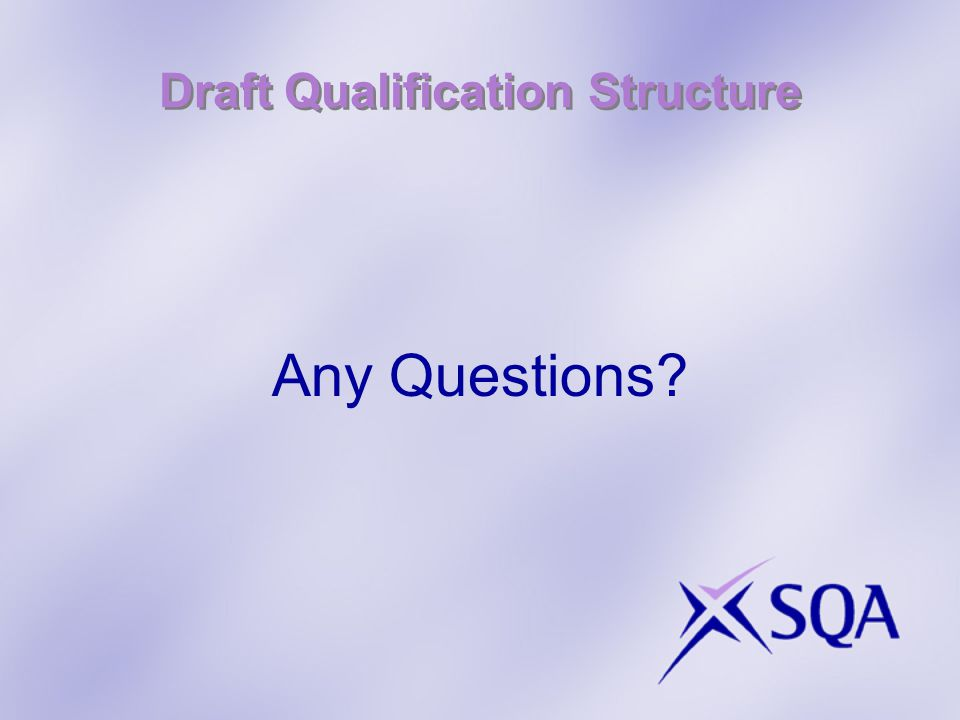 Draft Qualification Structure Any Questions?