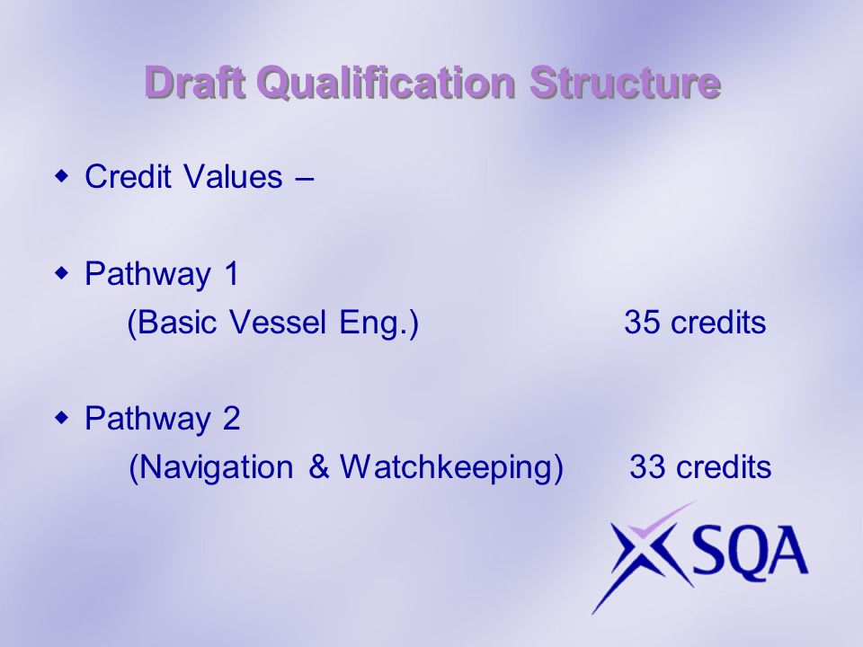 Draft Qualification Structure Credit Values – Pathway 1 (Basic Vessel Eng.) 35 credits Pathway 2 (Navigation & Watchkeeping) 33 credits