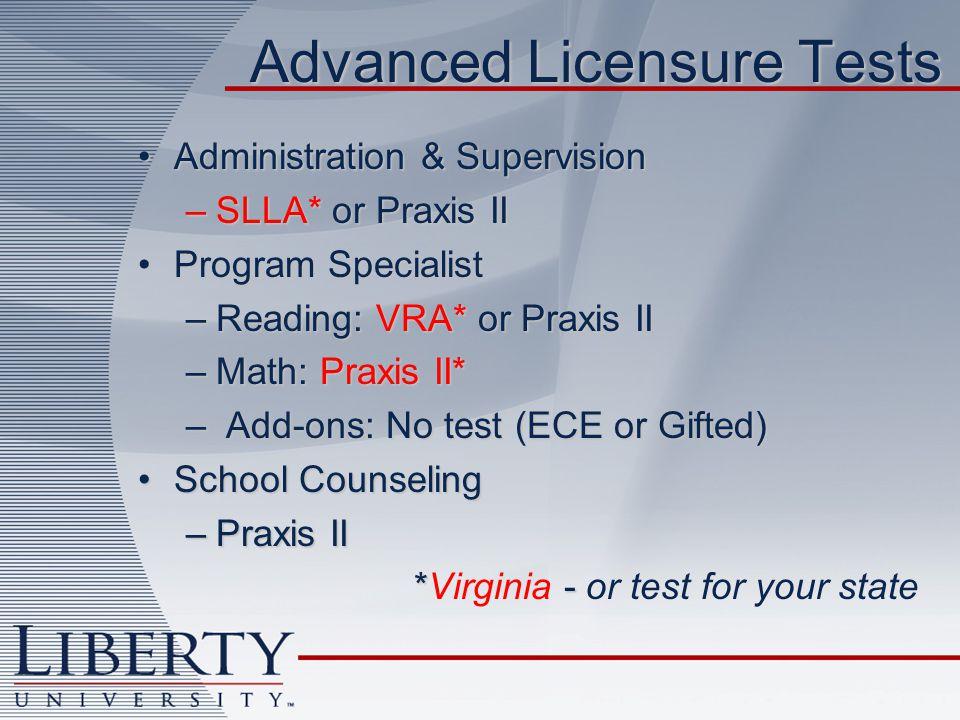 Advanced Licensure Tests Administration & SupervisionAdministration & Supervision –SLLA* or Praxis II Program SpecialistProgram Specialist –Reading: V
