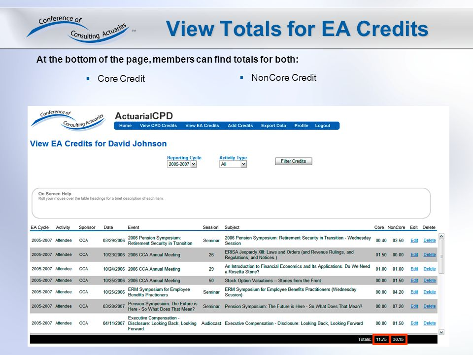 View Totals for EA Credits At the bottom of the page, members can find totals for both: Core Credit NonCore Credit