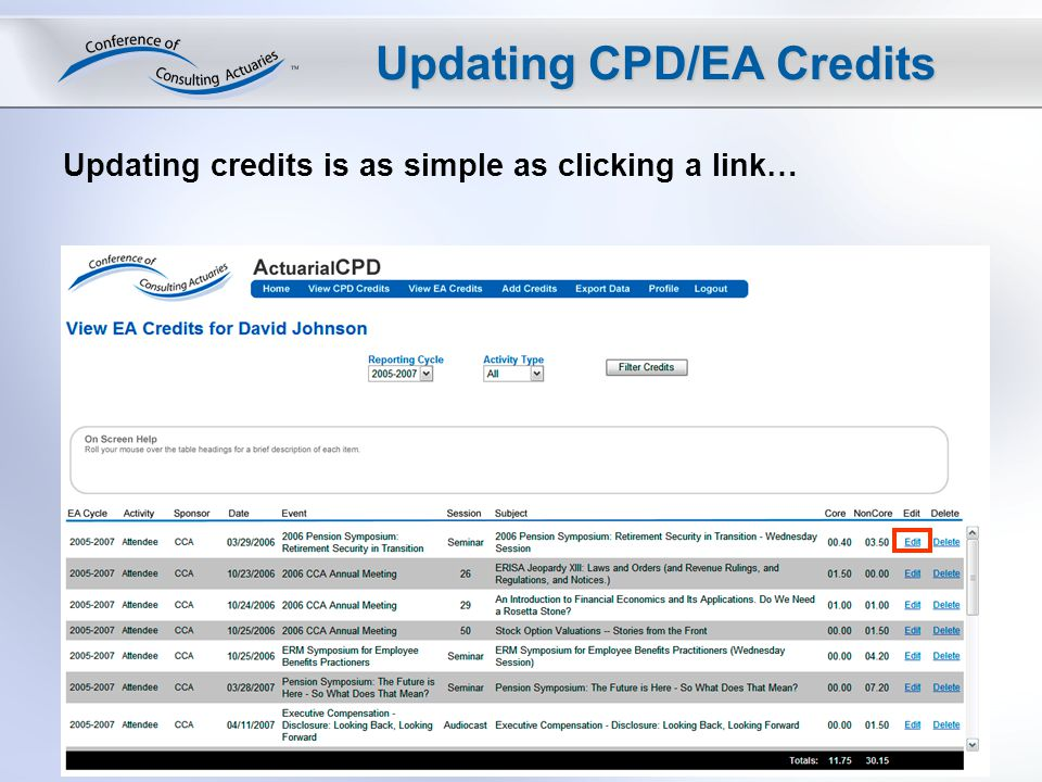Updating CPD/EA Credits Updating credits is as simple as clicking a link…