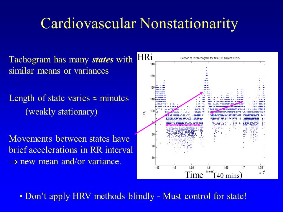 Cardiovascular Nonstationarity Tachogram has many states with similar means or variances Length of state varies minutes (weakly stationary) Movements between states have brief accelerations in RR interval new mean and/or variance.